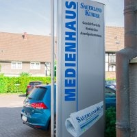 """Werbepylon für unseren Kunden dem """"Sauerland Kurier"""" - Für Individuelle Anfragen oder eine Beratung kontaktieren Sie bitte unsere Experten - DIAS Werbung"""